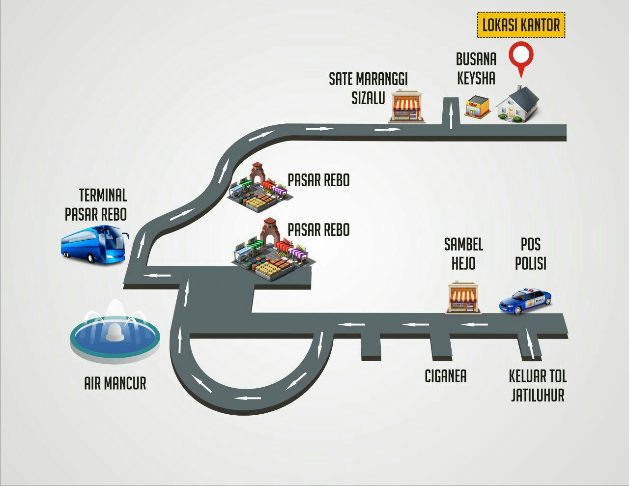 rute menuju kantor pemasaran kavling sunnah purwakarta