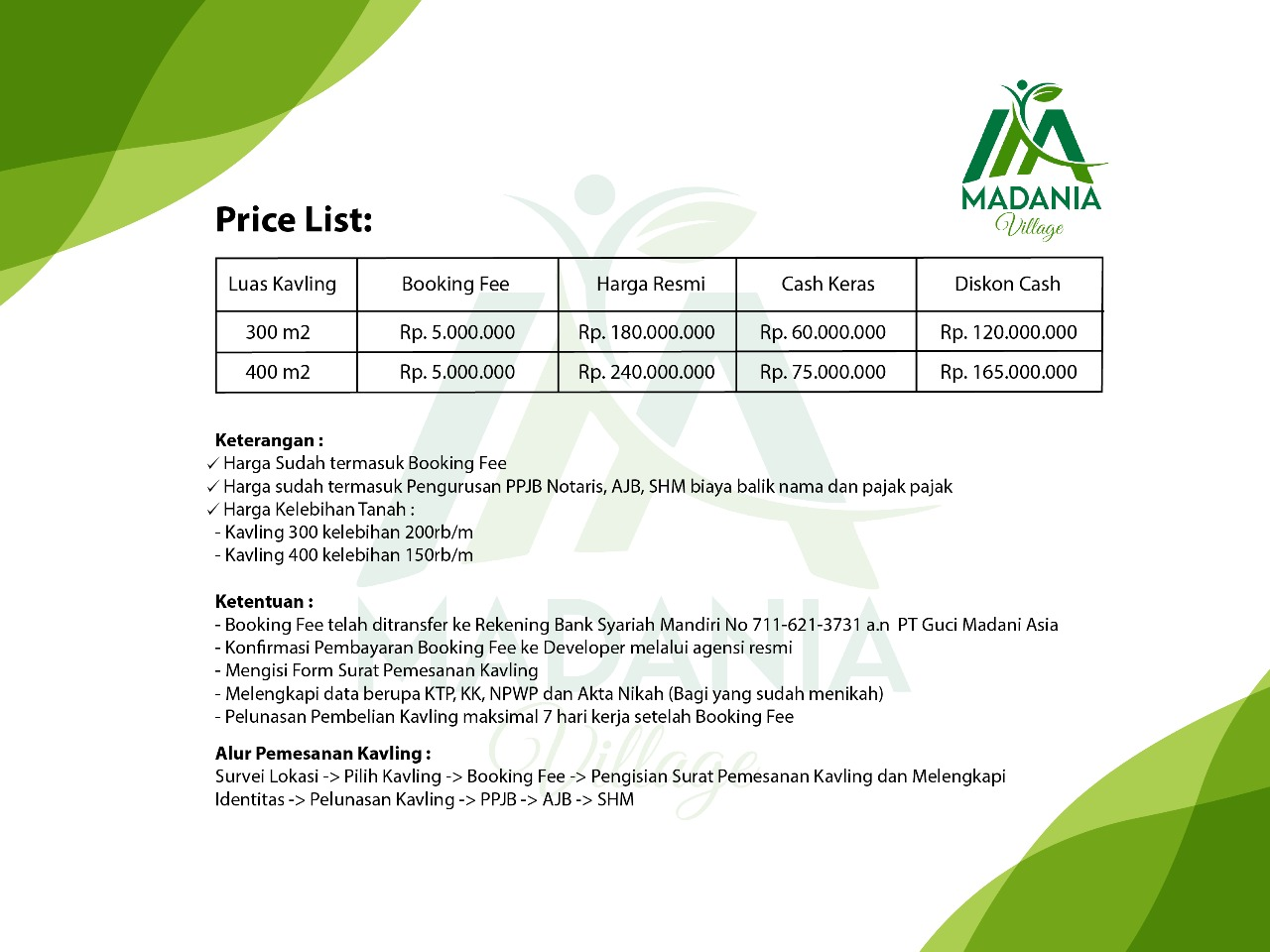 pricelist madania village