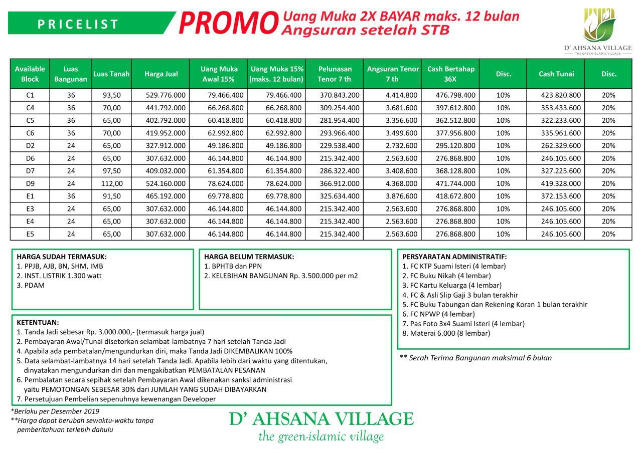 pricelist ahsana village