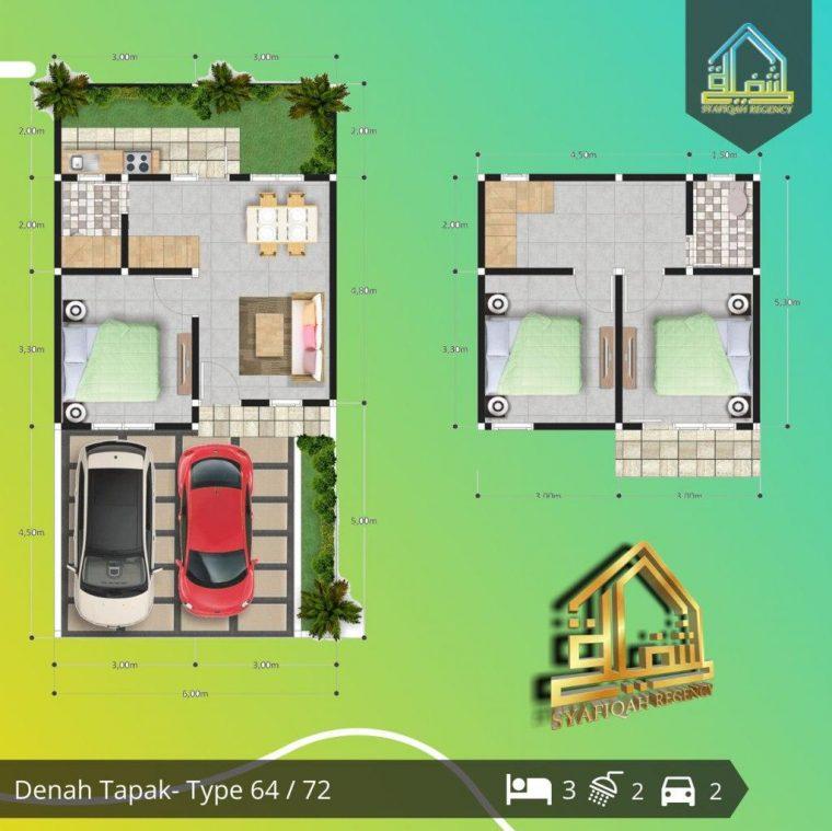 denah rumah 2 lantai type 64 syafiqah regency