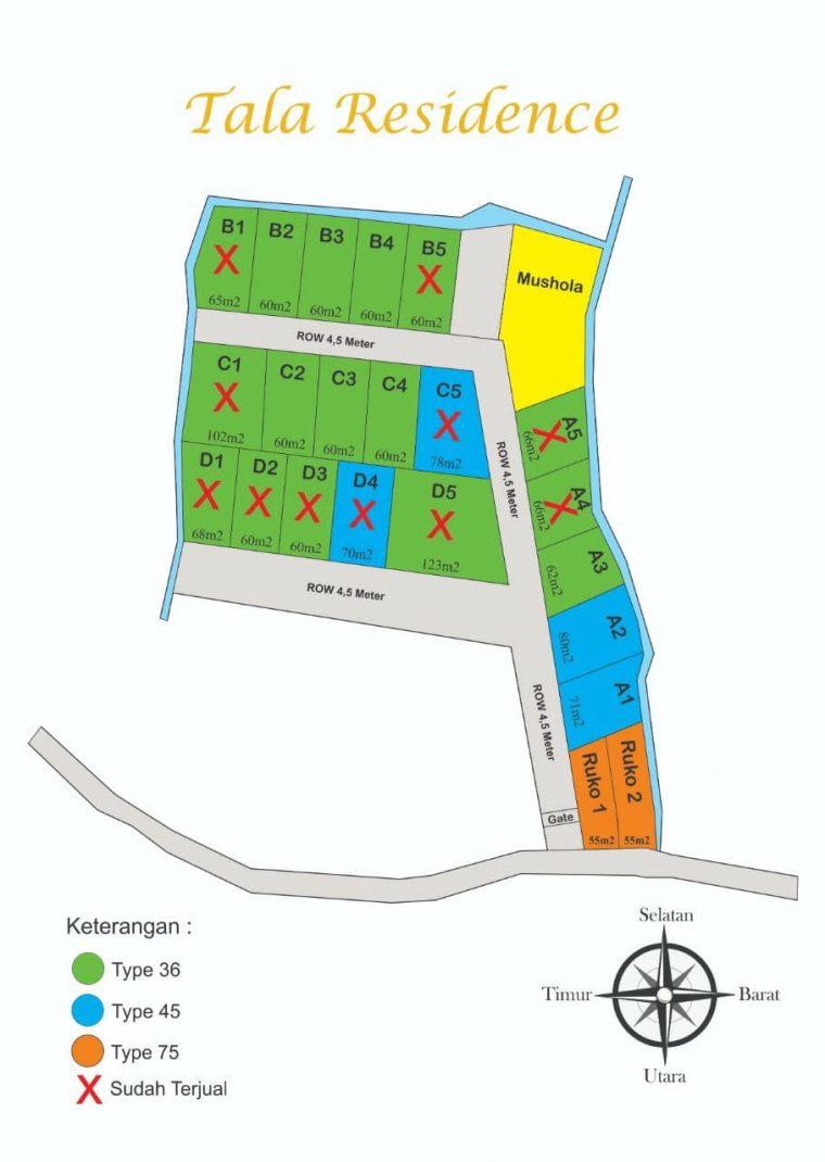 siteplan rumah syariah cluster tala residence