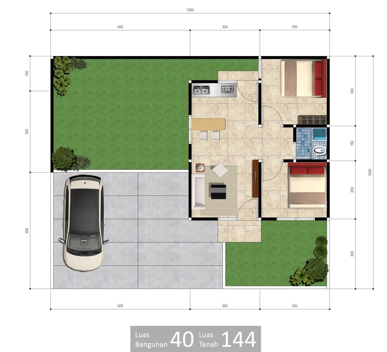 denah rumah type 40